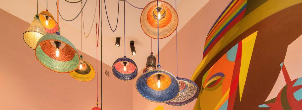 restaurant design, nazka, nazka amsterdam, meeder ontwerpers, roos meeder, pink walls, pet lamps, mural
